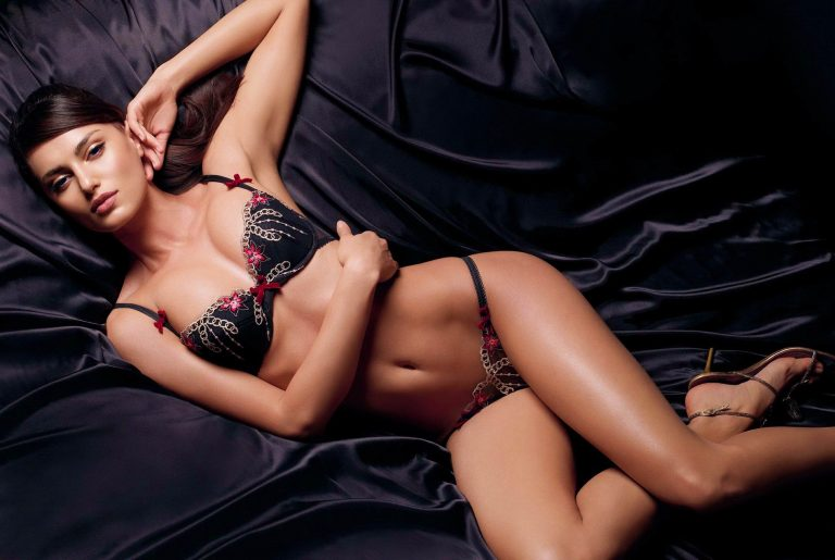 sexy brunette in lingerie